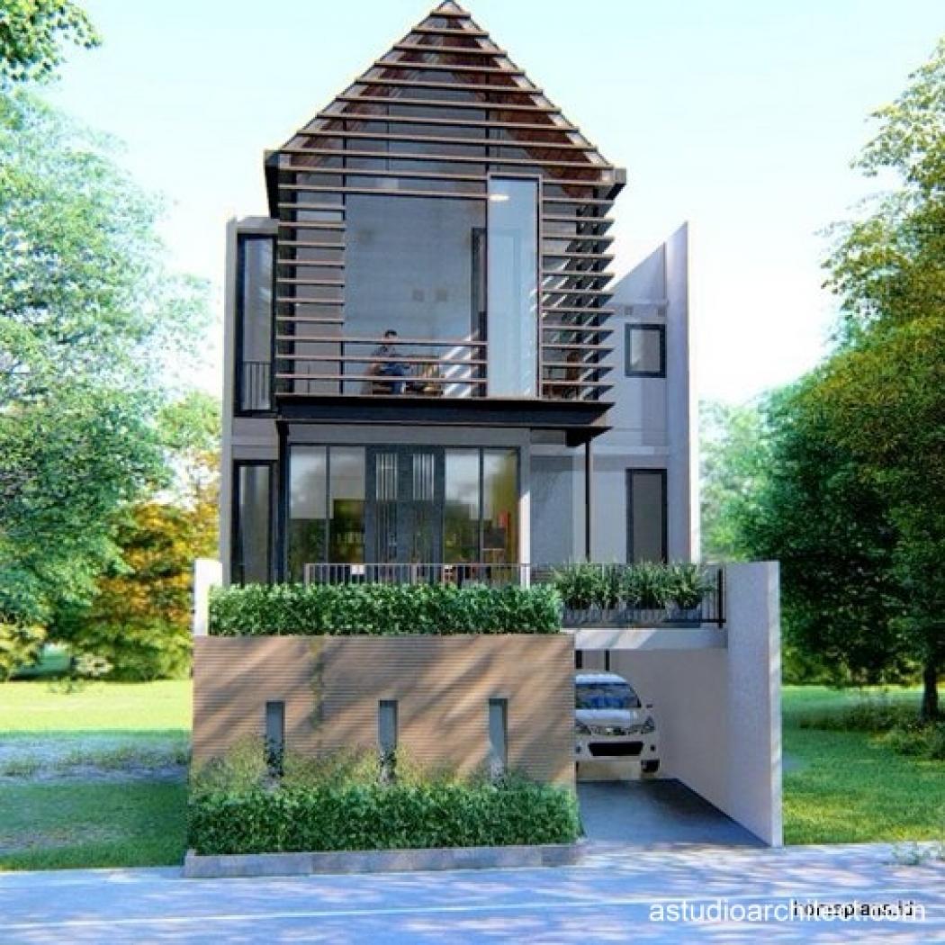 jual desain rumah detil produk rumah 2 lantai dengan semi basement