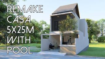 desain rumah pilihan: rumah lahan sempit 5x15 m dengan