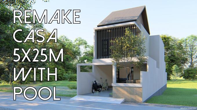 Desain Rumah Rumah Lahan Sempit 5x15 M Dengan Kolam Renang By Homeplans Id